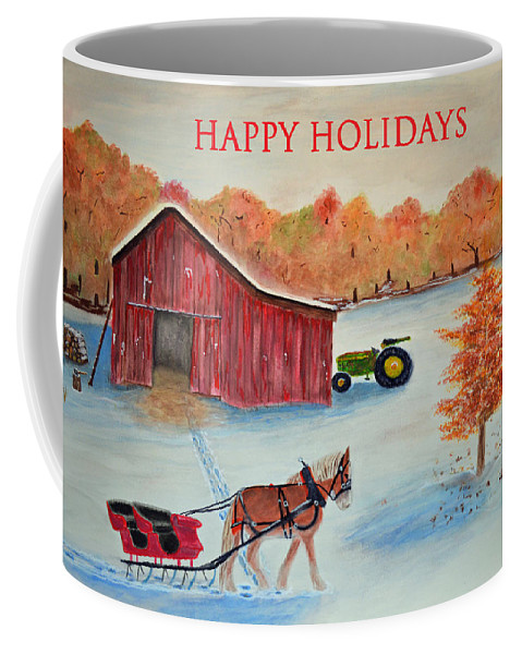 Greeting Coffee Mug featuring the painting Happy Holidays Card by Ken Figurski