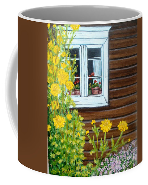 Window Coffee Mug featuring the painting Happy Homestead by Laurie Morgan