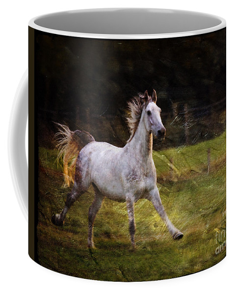 Grey Horse Coffee Mug featuring the photograph Happy Run by Angel Tarantella