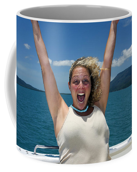 Carefree Coffee Mug featuring the photograph Happy Woman On Holiday by Gal Eitan