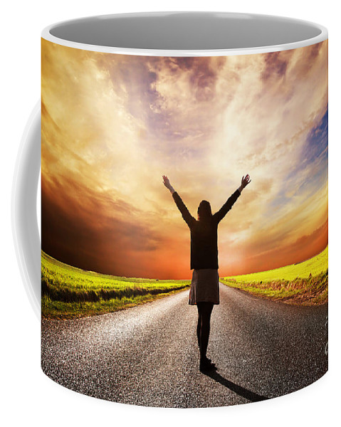 Road Coffee Mug featuring the photograph Happy Woman Standing On Long Road At Sunset by Michal Bednarek