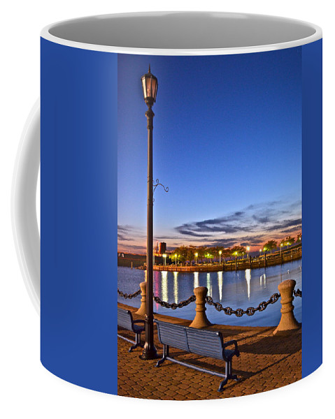 Harbor Coffee Mug featuring the photograph Harbor Lights by Frozen in Time Fine Art Photography