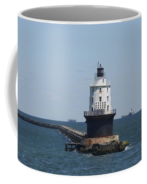Lighthouse Coffee Mug featuring the photograph Harbor Of Refuge Lighthouse by Christiane Schulze Art And Photography
