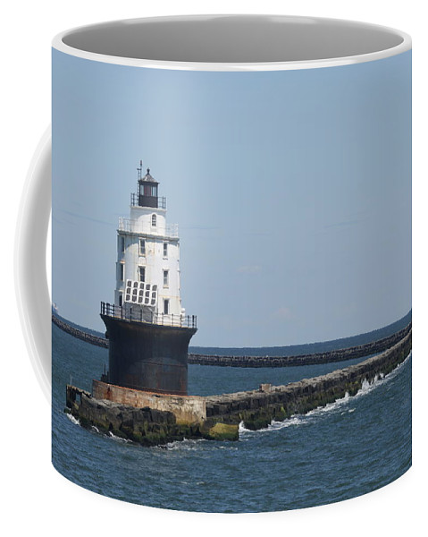 Lighthouse Coffee Mug featuring the photograph Harbor Of Refuge Lighthouse II by Christiane Schulze Art And Photography