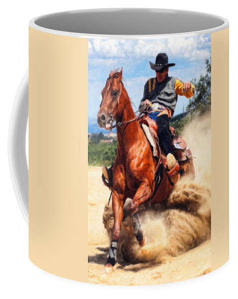 Rodeo Coffee Mug featuring the painting Hard Stop by Dean Wittle