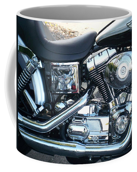 Motorcycles Coffee Mug featuring the photograph Harley Black and Silver Sideview by Anita Burgermeister