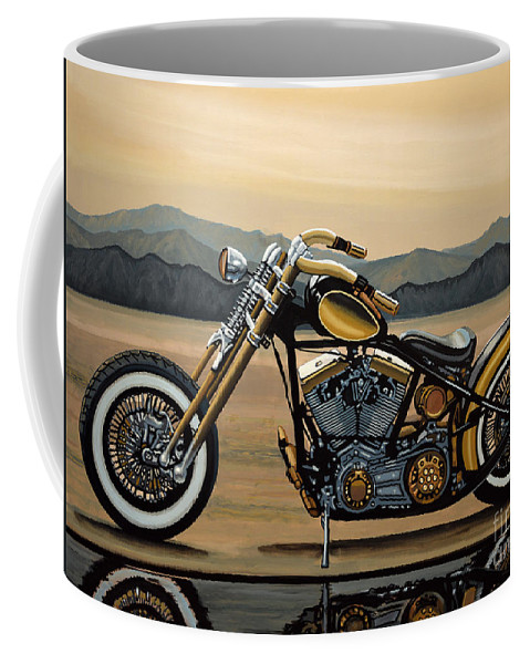 Harley Davidson Coffee Mug featuring the painting Harley Davidson by Paul Meijering