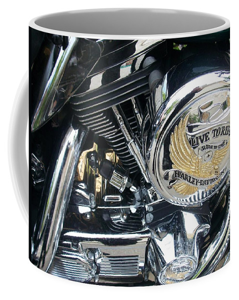 Motorcycles Coffee Mug featuring the photograph Harley Live To Ride by Anita Burgermeister