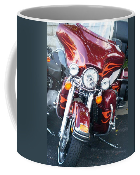Motorcycles Coffee Mug featuring the photograph Harley Red w Orange Flames by Anita Burgermeister