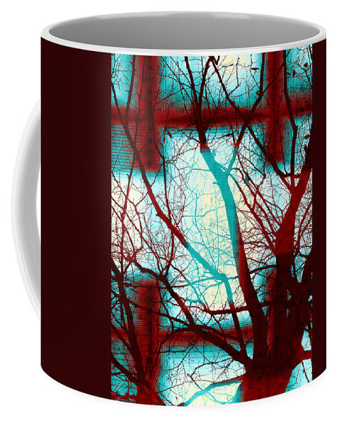 Colorful Coffee Mug featuring the digital art Harmonious Colors - Red White Turquoise by Shawna Rowe