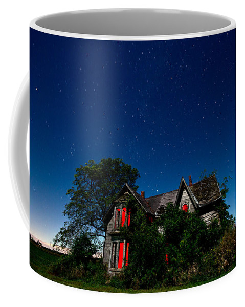 Abandoned Coffee Mug featuring the photograph Haunted Farmhouse At Night by Cale Best