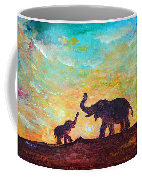 Elephants Coffee Mug featuring the painting Have Courage by Ashleigh Dyan Bayer