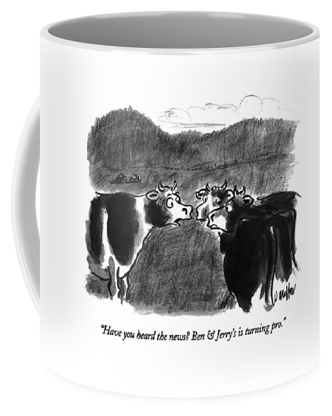 Consumerism Coffee Mug featuring the drawing Have You Heard The News? Ben & Jerry's by Warren Miller