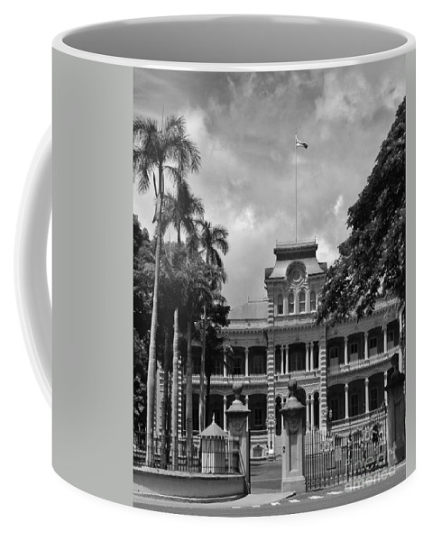 ʻiolani Palace Coffee Mug featuring the photograph Hawaii's Iolani Palace In Bw by Craig Wood