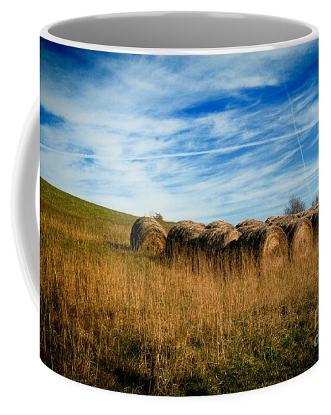 Agriculture Coffee Mug featuring the photograph Hay Bales And Contrails by Amy Cicconi