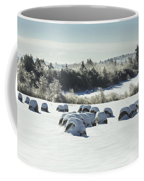 Winter Coffee Mug featuring the photograph Hay Bales Covered With Snow And Ice In Maine by Keith Webber Jr