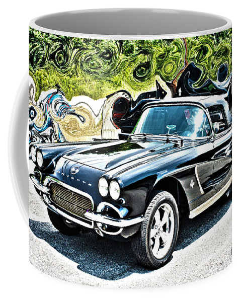 Chevrolet Coffee Mug featuring the mixed media Chevrolet Corvette Vintage With Curly Background by Lesa Fine