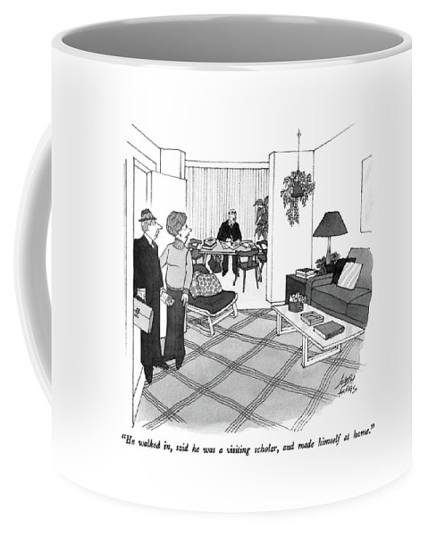 Wife To Husband Who Has Just Walked In Coffee Mug featuring the drawing He Walked by Joseph Farris