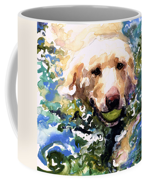 Water Retrieve Coffee Mug featuring the painting Head Above Water by Molly Poole