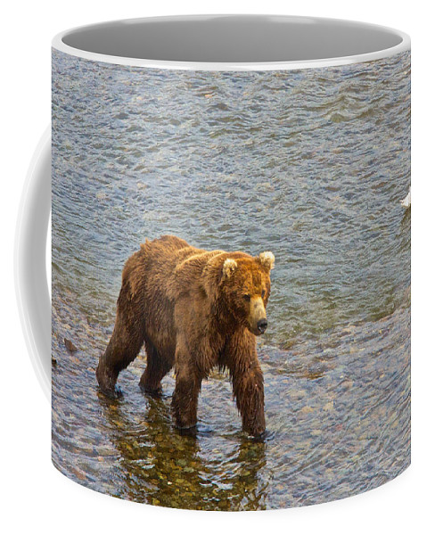 Head Grizzly Bear Coffee Mug featuring the photograph Head Grizzly Bear And Sea Gull In Moraine River In Katmai Np-ak by Ruth Hager