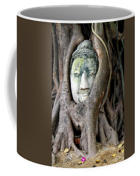 Buddha Coffee Mug featuring the photograph Head Of The Sandstone Buddha by Laurel Talabere