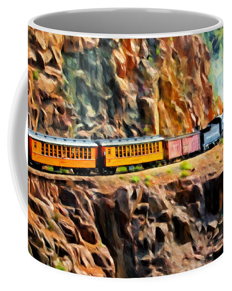 Durango And Silverton Narrow Gauge Railroad Coffee Mug featuring the painting Headed Up The Grade by Michael Pickett