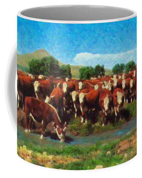 Rodeo Coffee Mug featuring the painting Heading For Water by Dean Wittle