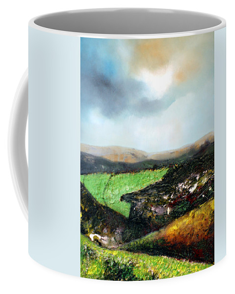 Large Landscape Painting. Mixed Media. It Comes With A Modern Brown Wooden Frame. Framed 43 X 33 Inches Coffee Mug featuring the painting Heading To The Green Land by Isabelle Amante