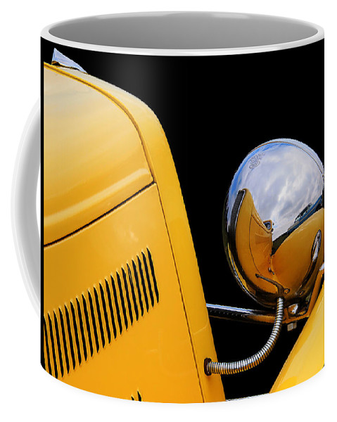 Hotrod Coffee Mug featuring the photograph Headlight Reflections In A 32 Ford Deuce Coupe by Gill Billington