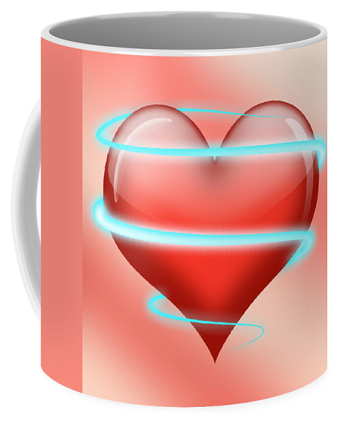 Neon Heart Coffee Mug featuring the digital art Hearbeat 1 by Ma Bu