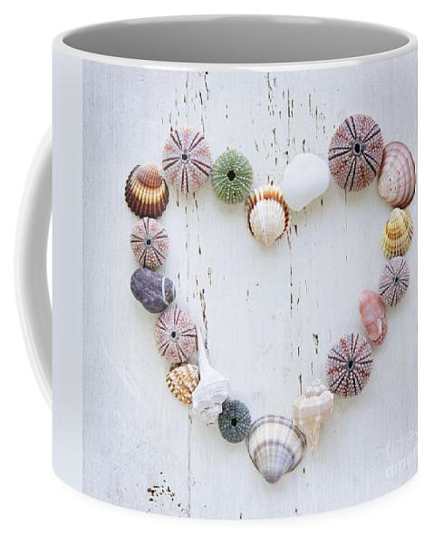 Heart Coffee Mug featuring the photograph Heart Of Seashells And Rocks by Elena Elisseeva