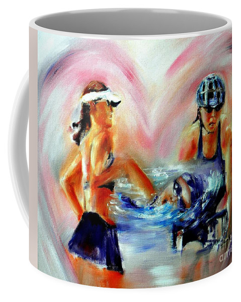 Triathlete Artwork Coffee Mug featuring the painting Heart Of The Triathlete by Sandy Ryan