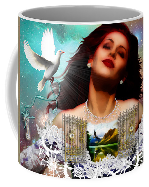 Prophetic Art Coffee Mug featuring the digital art Heaven In Me by Dolores Develde