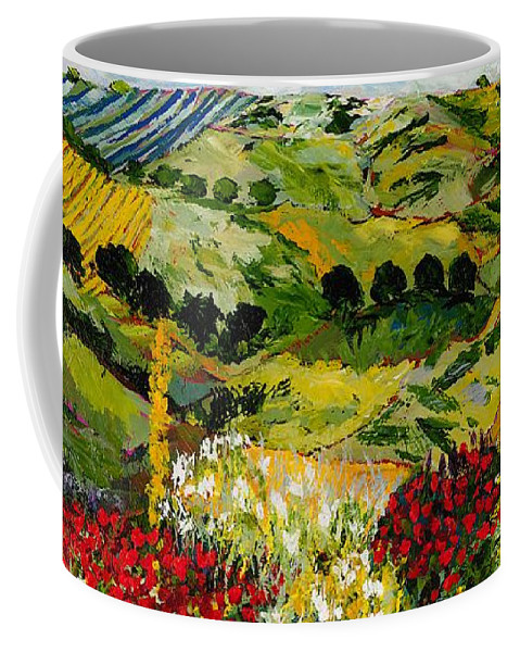 Landscape Coffee Mug featuring the painting Heavenly View by Allan P Friedlander