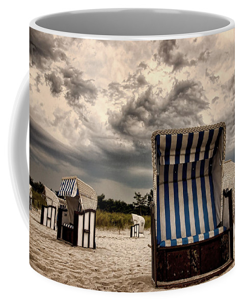 Ostsee Strand Sea Water Weather Clouds Strandkorb Stormy Thunderstorm Heavy Meer Sonne Urlaub Wasser Coffee Mug featuring the photograph Heavy Times by Steffen Gierok