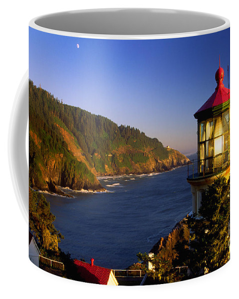 America Coffee Mug featuring the photograph Heceta Head Moonrise by Inge Johnsson