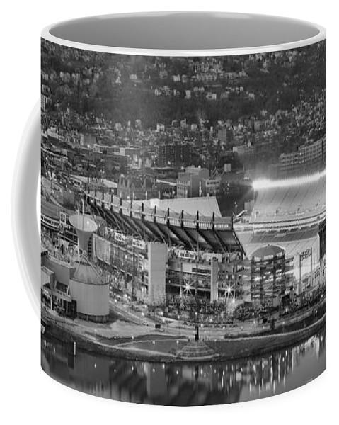Heinz Field Black And White Coffee Mug featuring the photograph Heinz Field Evening Black And White Panorama by Adam Jewell