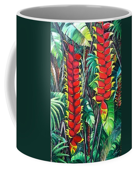 Heliconia Painting Hanging Red Heliconia Tropical Painting Coffee Mug featuring the painting Heliconia Rostrata by Karin Dawn Kelshall- Best