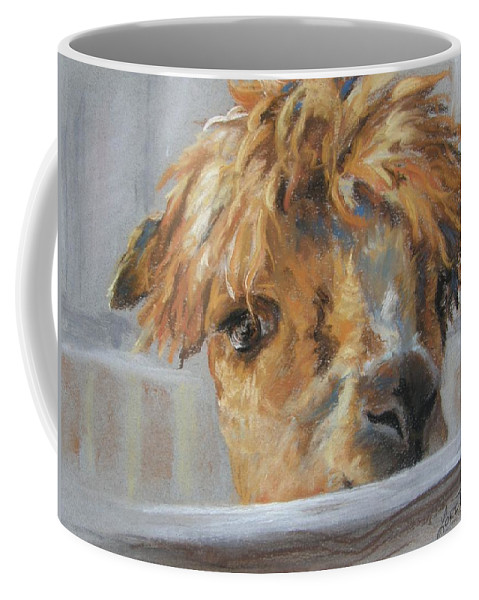 Baby Camel Coffee Mug featuring the drawing Hello by Lori Brackett
