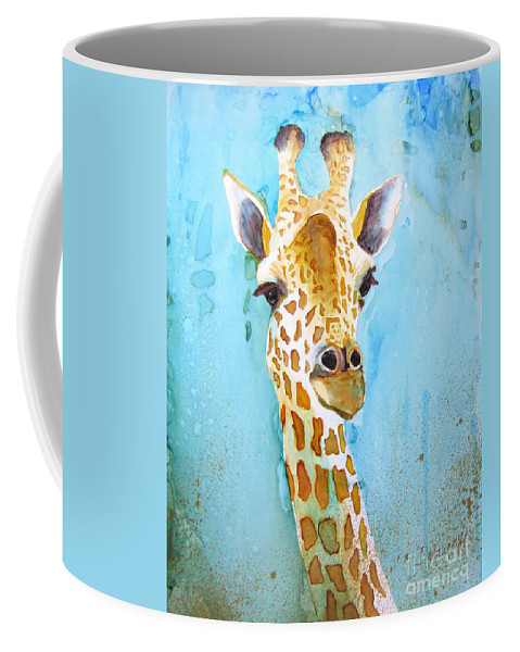 Giraffe Coffee Mug featuring the painting Hello There by Diane Marcotte