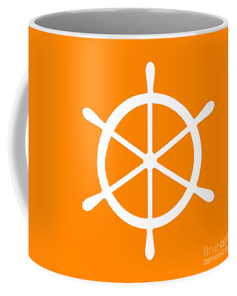 Graphic Art Coffee Mug featuring the digital art Helm In White And Orange by Jackie Farnsworth