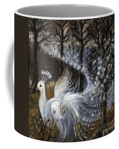 Peacock Coffee Mug featuring the painting Here Comes The Mist by Angel Ciesniarska