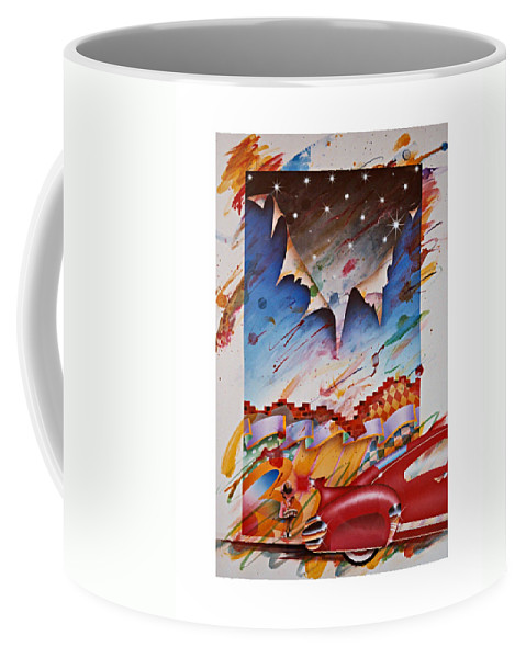 Fifties American Auto Coffee Mug featuring the painting Here Comes The Night by Charles Stuart