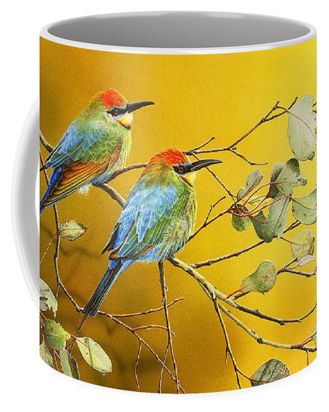 Gum Trees Coffee Mug featuring the painting Here Comes The Sun - Rainbow Bee-Eaters by Frances McMahon