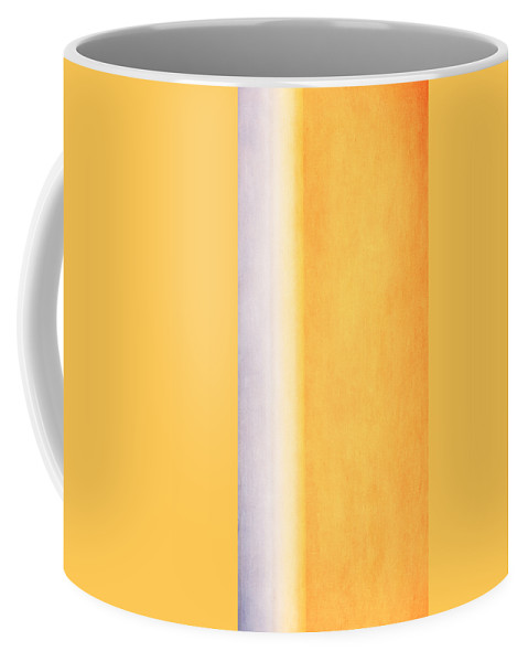 Abstract Coffee Mug featuring the mixed media Here Comes The Sun Triptych 3 by Angelina Vick