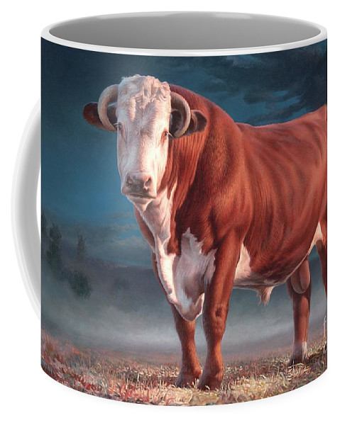 Hereford Bull Coffee Mug featuring the painting Hereford Bull by Hans Droog