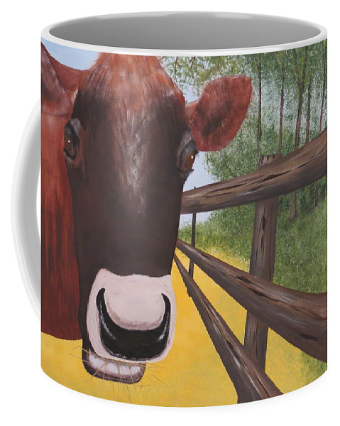 Cow Coffee Mug featuring the painting Here's Looking At Moo by Tim Townsend