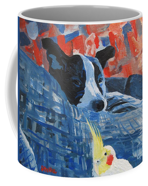 Animal Prints Coffee Mug featuring the painting Heres Looking At You Pal by Stella Sherman
