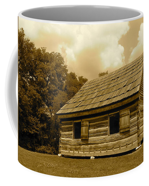 Sepia Coffee Mug featuring the photograph Hermitage Farmhouse 2 by Denise Mazzocco