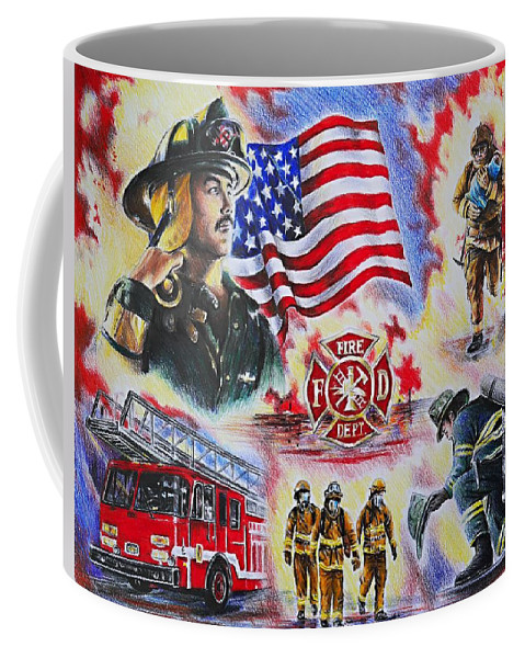 Coffee Mug featuring the drawing Heroes American Firefighters by Andrew Read